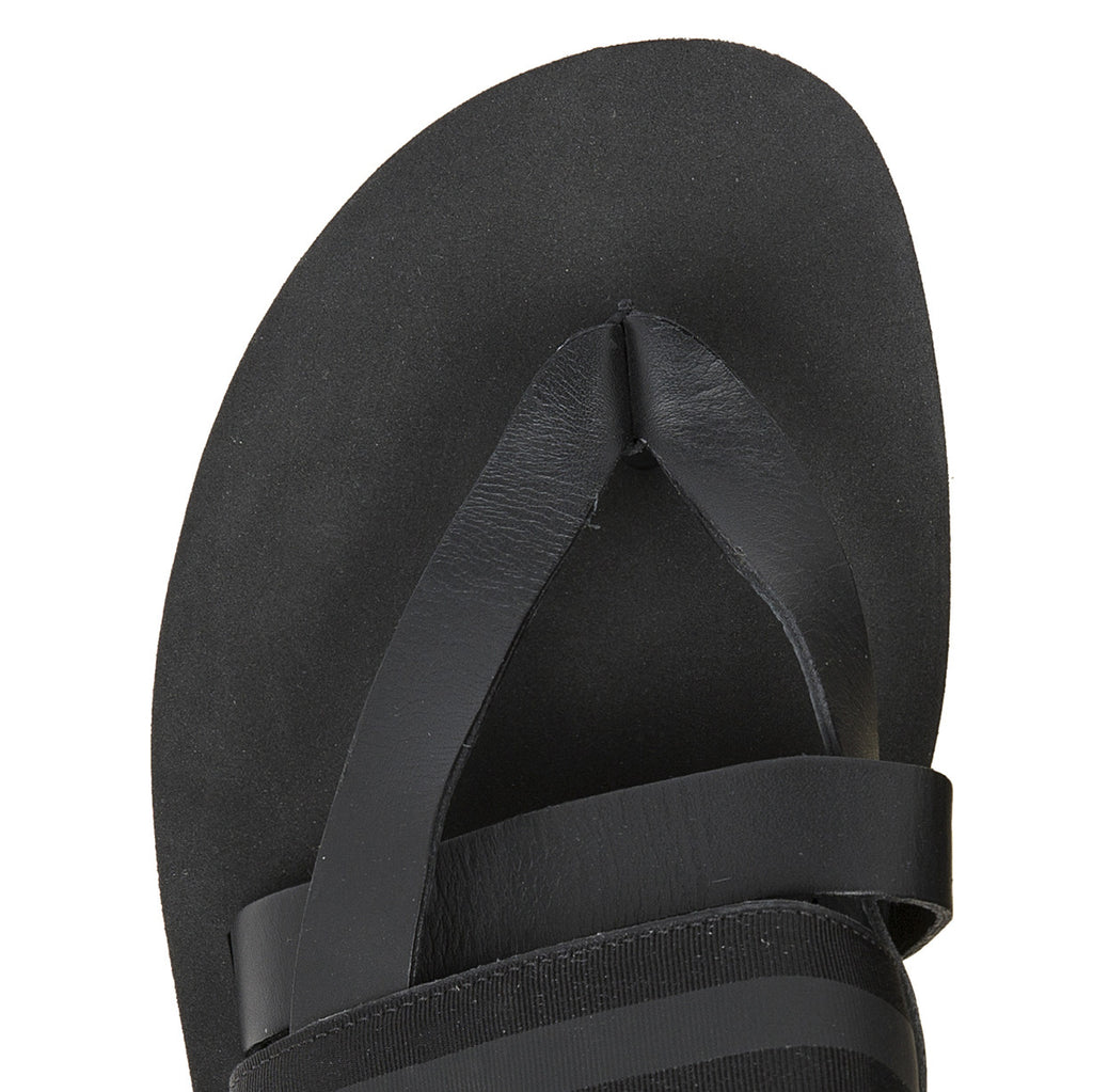 Bi-color micro sole leather thong with grosgrain trim