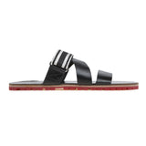 Leather multi-strap slide with red lug sole and grosgrain trim