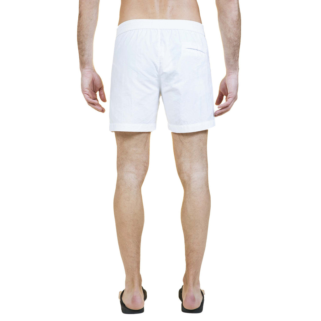 White tailored mid-length swim short