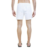 Mid-length flat front nylon swim short with embroidered W logo