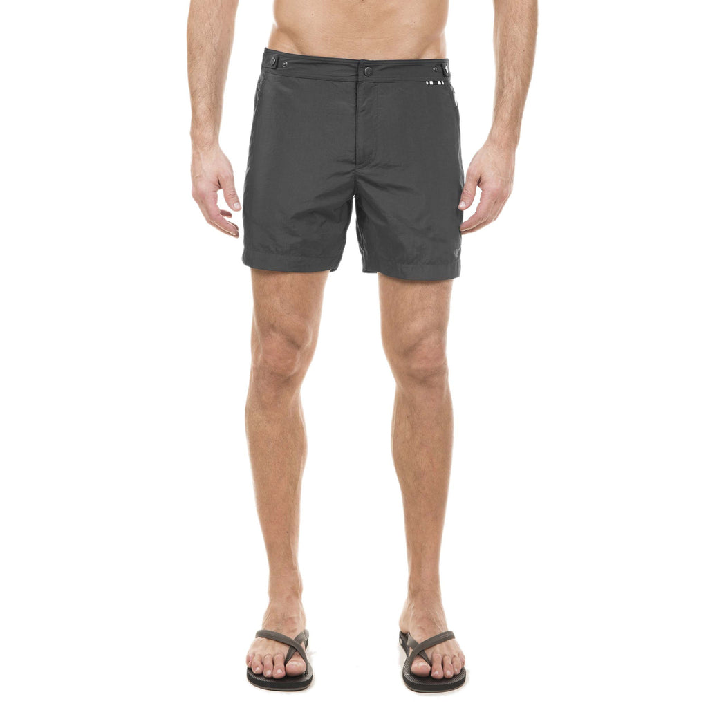 Black mid-length flat-front nylon swim short with embroidered W logo
