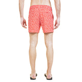 Mid-length flat front nylon swim short with exclusive coral print