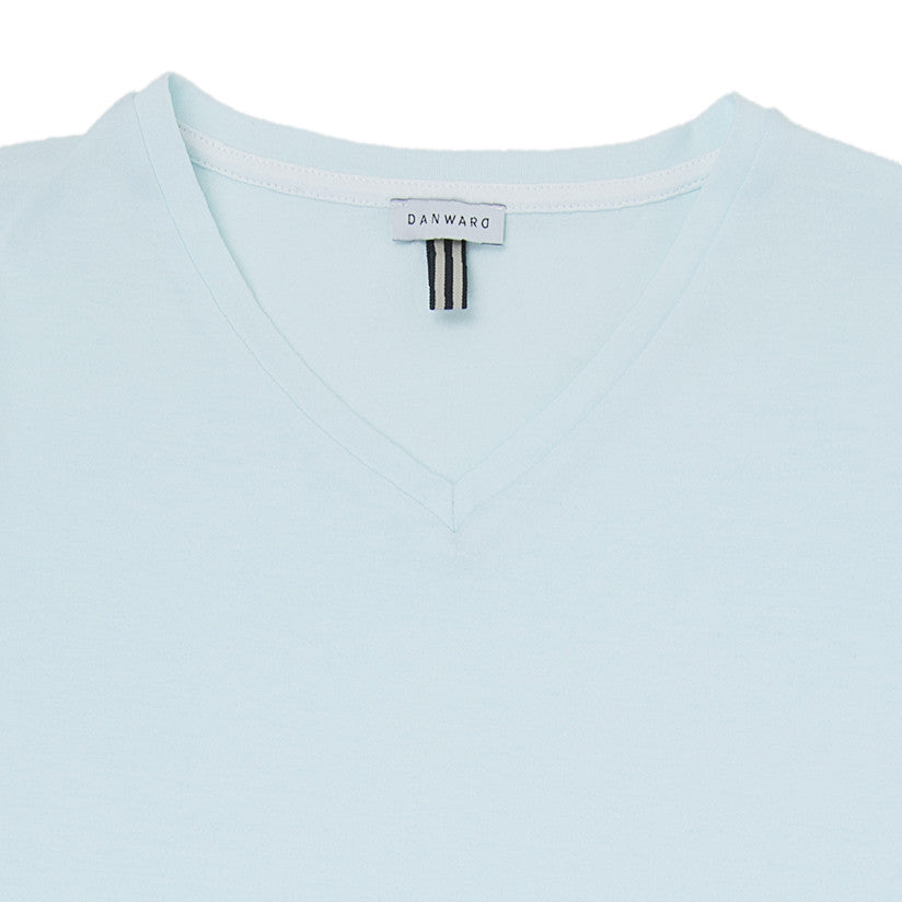 Cotton v-neck t-shirt with contrast insert detail