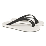 Bi-colored cross toe luxe flip flop