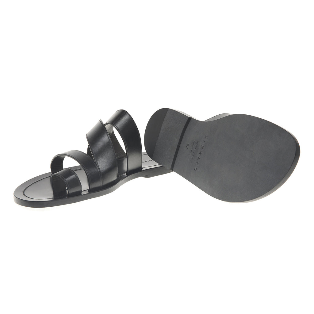 Asymmetric multi-straped leather sandal