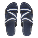 Crisscross leather and cotton webbed leather slide