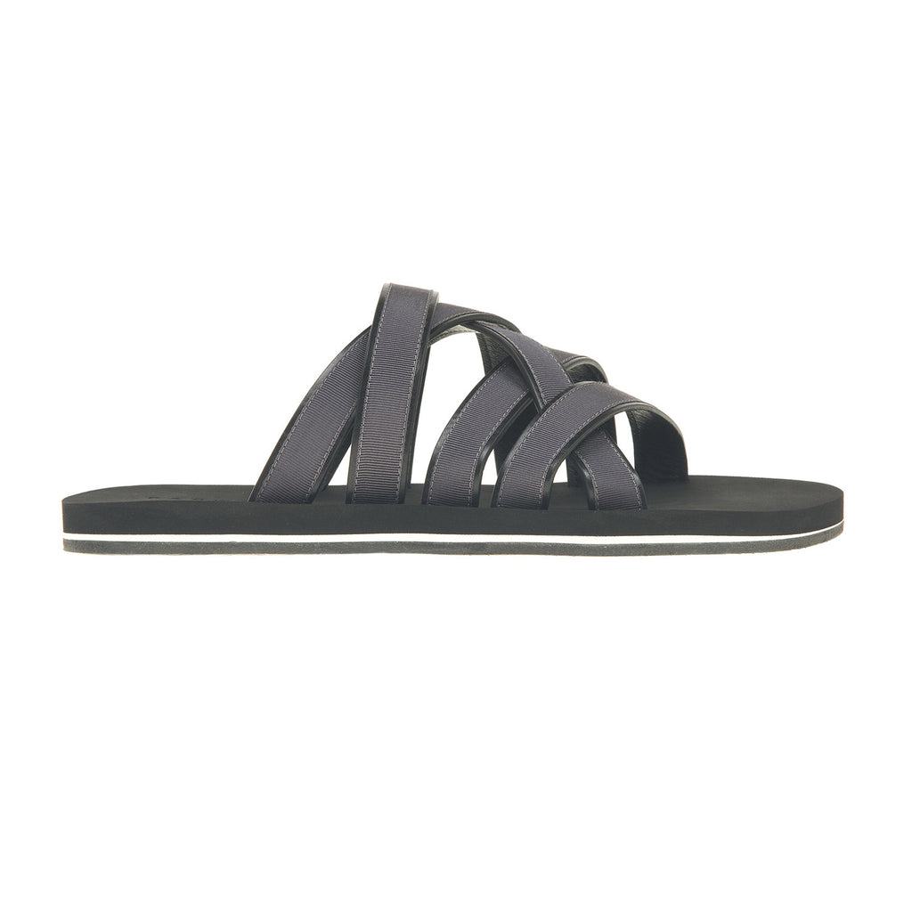 Leather and cotton webbed multi-straped sandal with bicolor micro sole