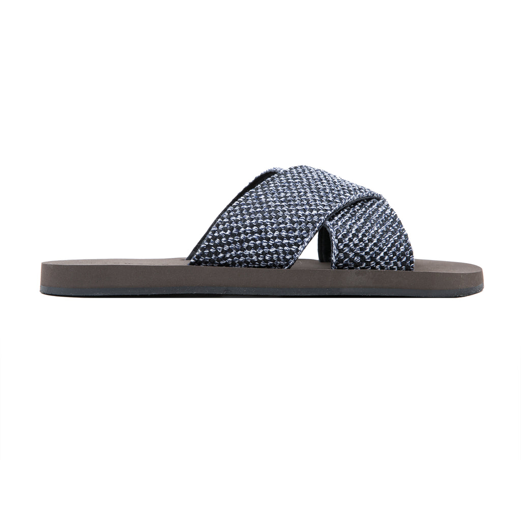 Upper cotton and leather criss-cross slide with micro botton
