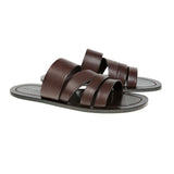 Cafe leather multi-strapped sandal with half rubber sole