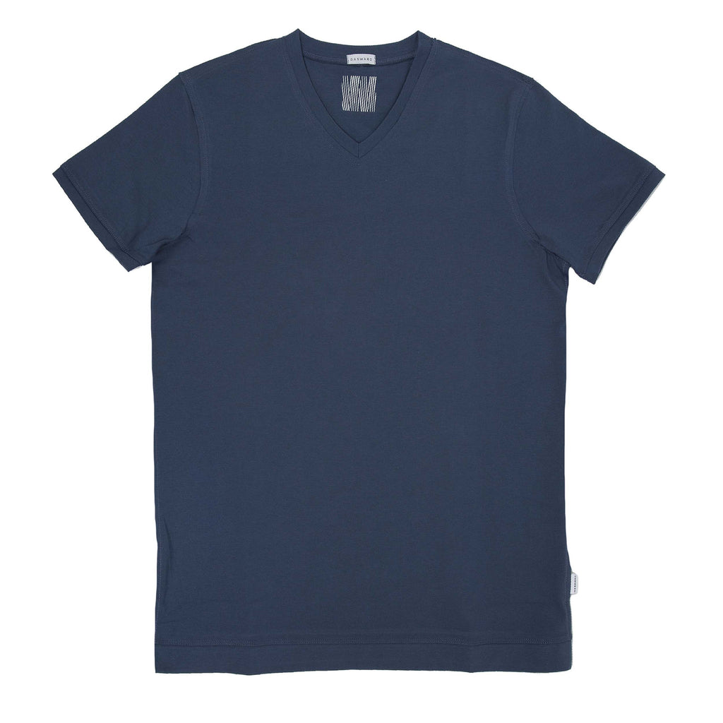 Fitted cotton jersey v-neck t-shirt with raw edged seams and W logo interior print