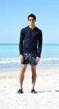 Navy elasticated mid-length swim short
