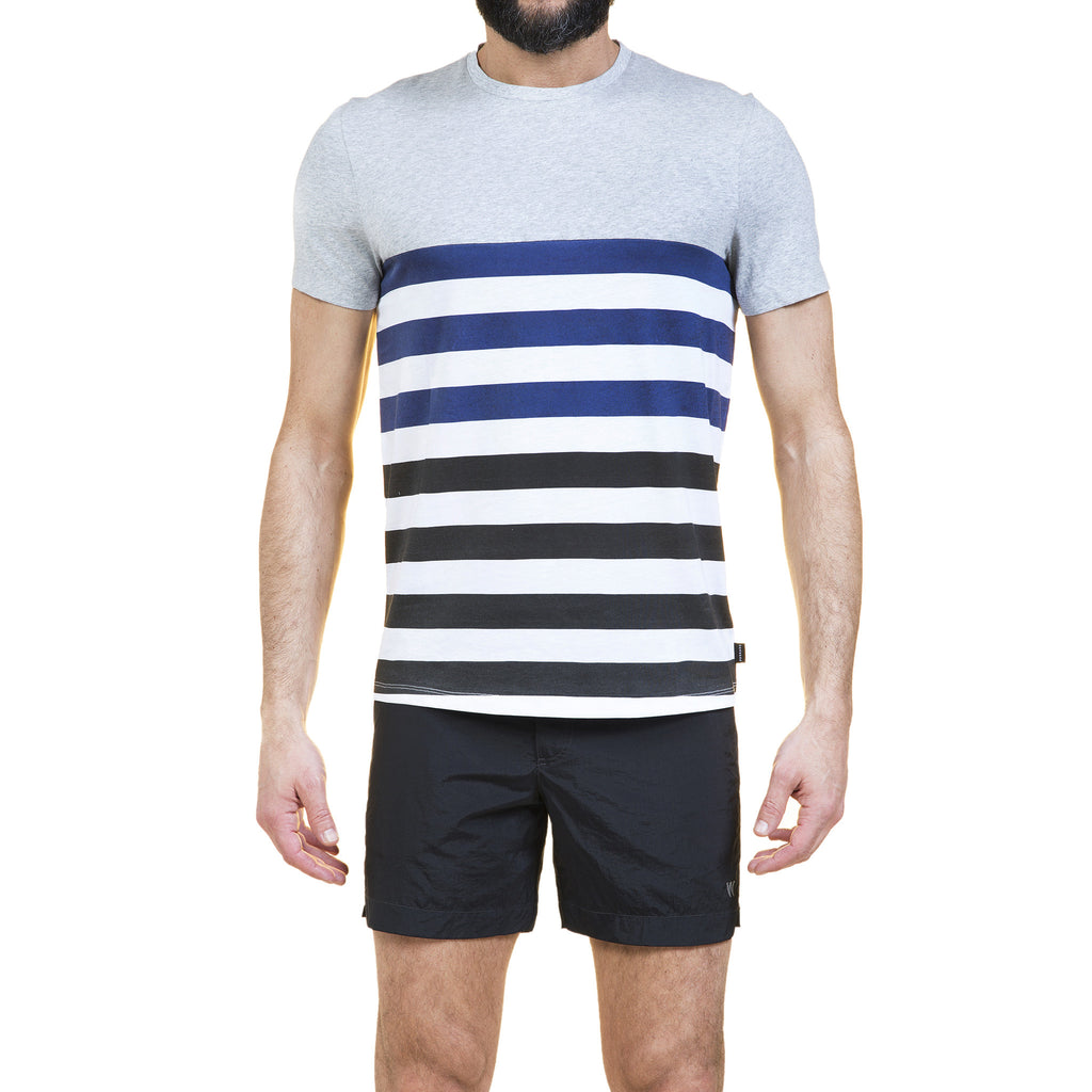 Cotton crew neck t-shirt in melange jersey with contrast deckchair stripes