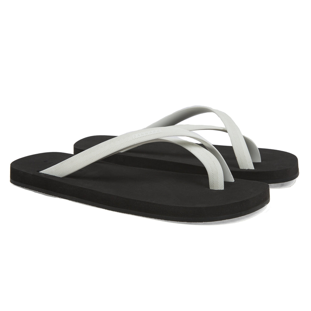 Bicolored cross toe flip-flop, black with white