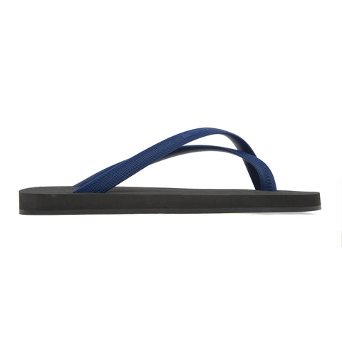 Bicolored cross toe flip-flop, black with indigo