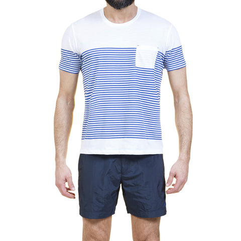 Super light weight cotton jersey scoop neck t-shirt with stripe print