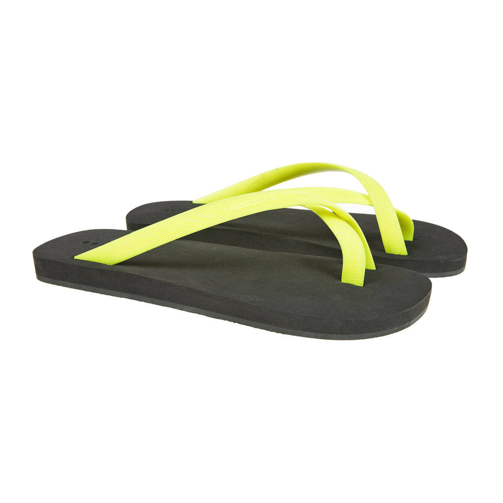 Bicolored cross toe flip-flop, black with lemon