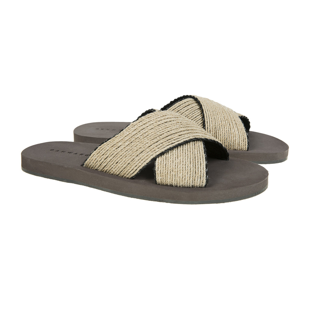Criss-cross bicolored raffia and leather lined beach slide with micro bottom