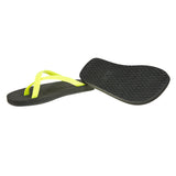 Bi-colored cross toe luxe flip flop, black with lemon