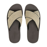 Crisscross bicolored raffia and leather lined beach slide with micro bottom