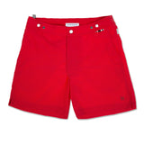 Red tailored mid-length swim short
