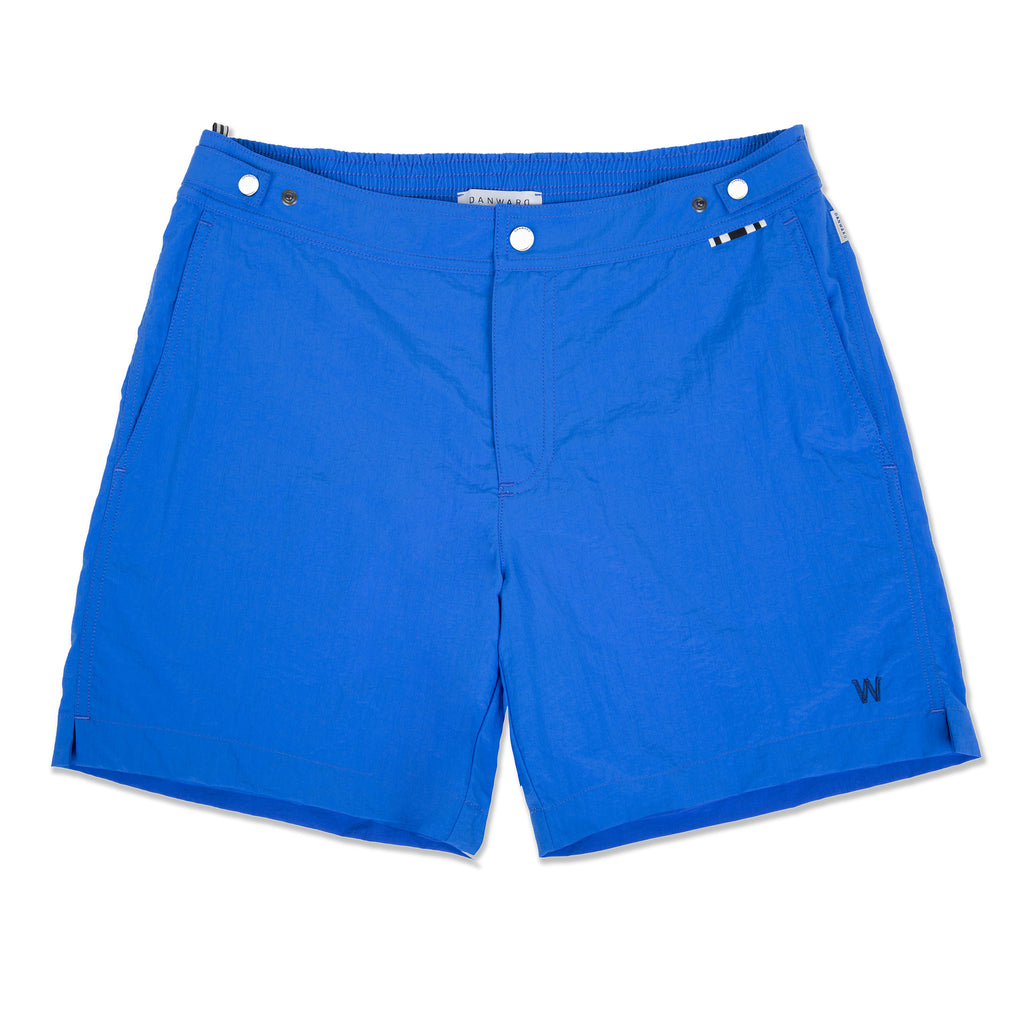Ocean Mid-Length flat front nylon swim short with embroidered W logo