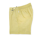 Gold Mid-length flat front swim short in techno nylon
