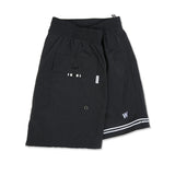 Black lightweight nylon elasticated trunk with embroidered W logo and asymmetrical webbing detail