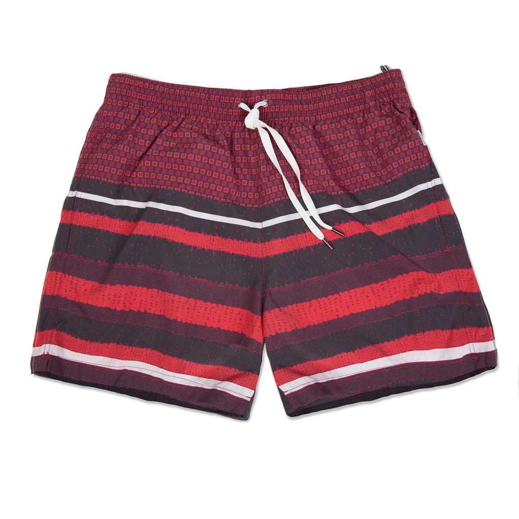 Lightweight nylon elasticated trunk with multi pattern and stripe print