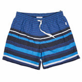 Blue elasticated mid-length swim short