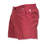 Raspberry Mid-length flat front swim short in techno nylon
