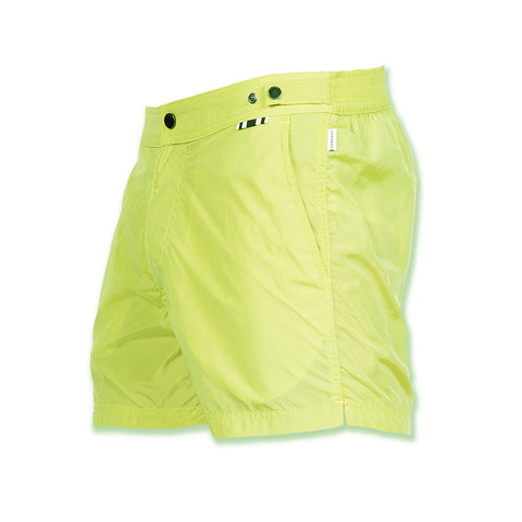 Lemon mid-length flat-front nylon swim short with embroidered W logo