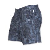 Mid length flat front nylon swim trunk with multicolor mosaic print