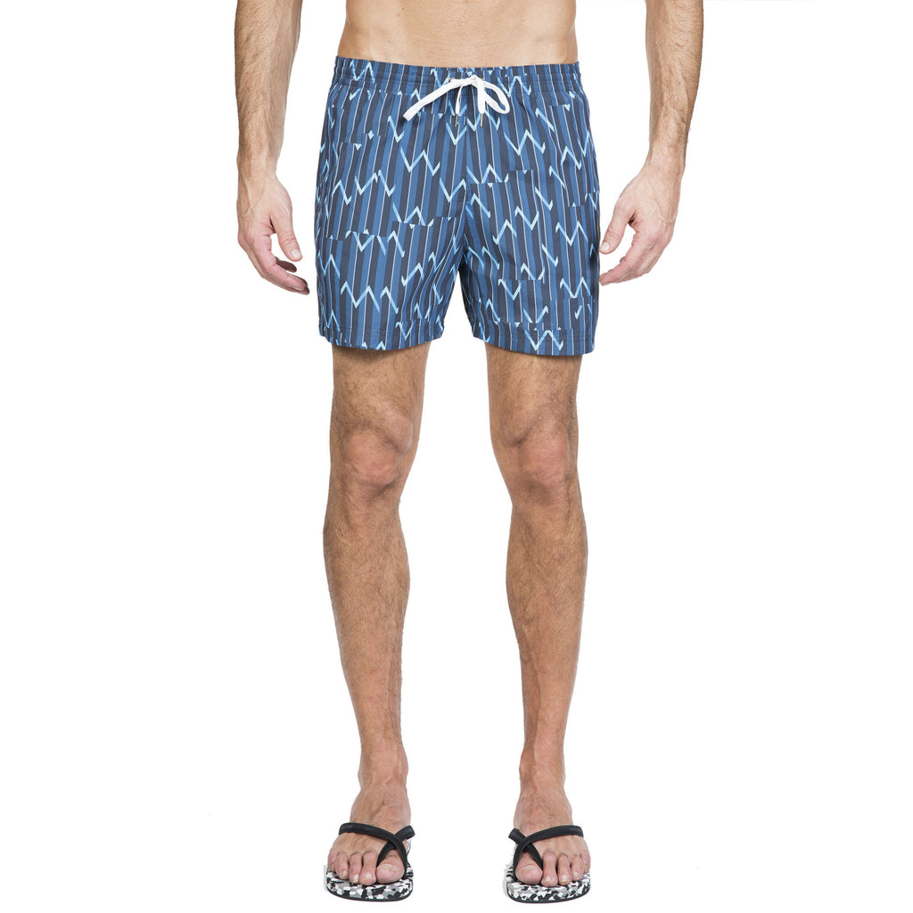 Lightweight nylon elasticated trunk with kimono inspired print motif