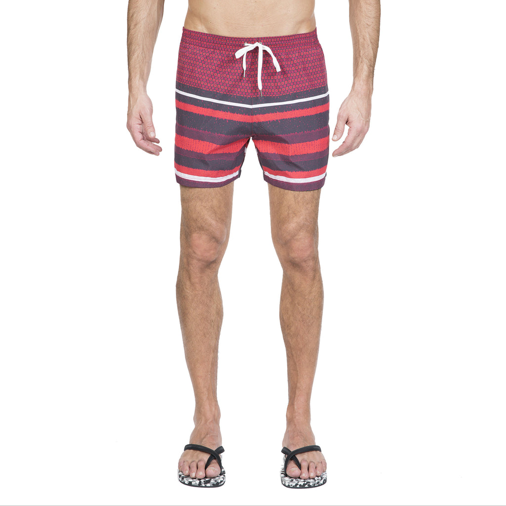 Red elasticated mid-length swim short