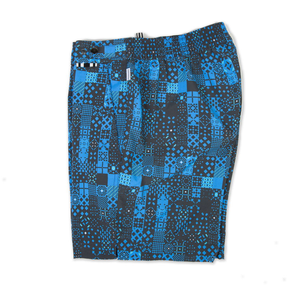 Blue tailored mid-length swim short