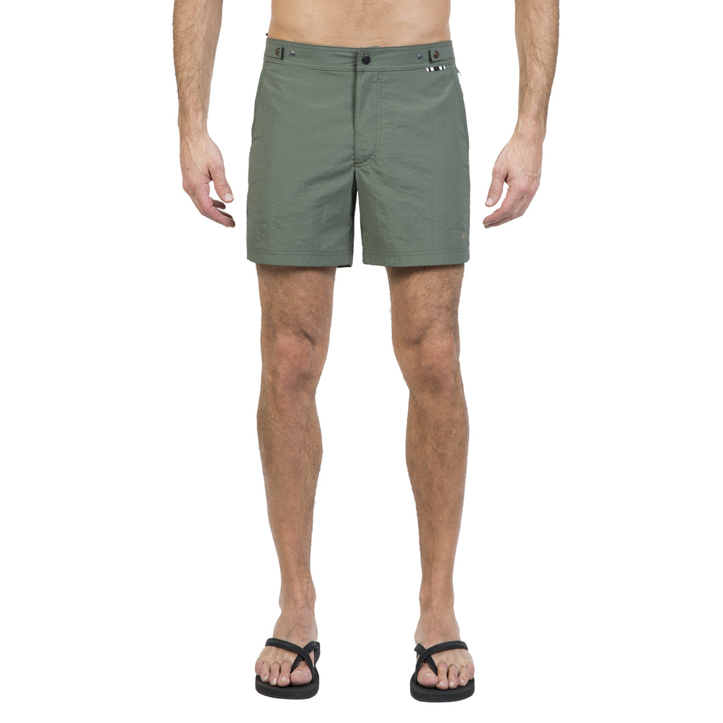 Khaki mid-length flat-front nylon swim short with embroidered W logo