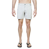 Light grey mid-Length flat front nylon swim short with embroidered W logo