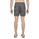 Mid length flat front nylon swim trunk with triangle and stripe motif print
