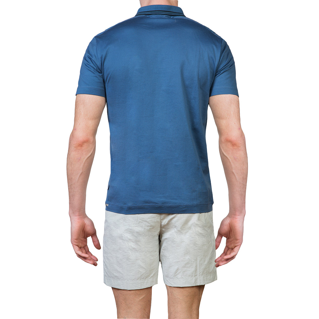 Cotton jersey polo with insert details