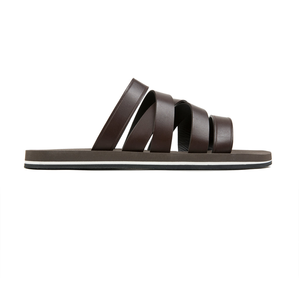 Brown asymmetrical multi-strapped leather sandal with micro sole