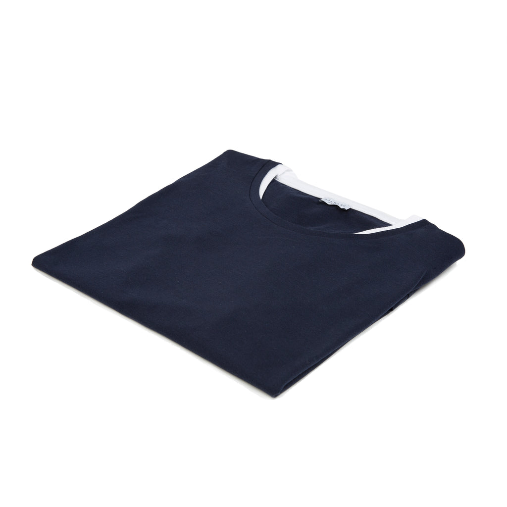 Jersey tee shirt with double collar detail
