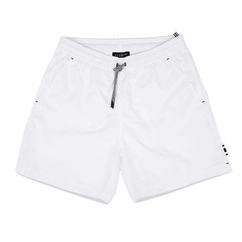 White elasticated mid-length swim short