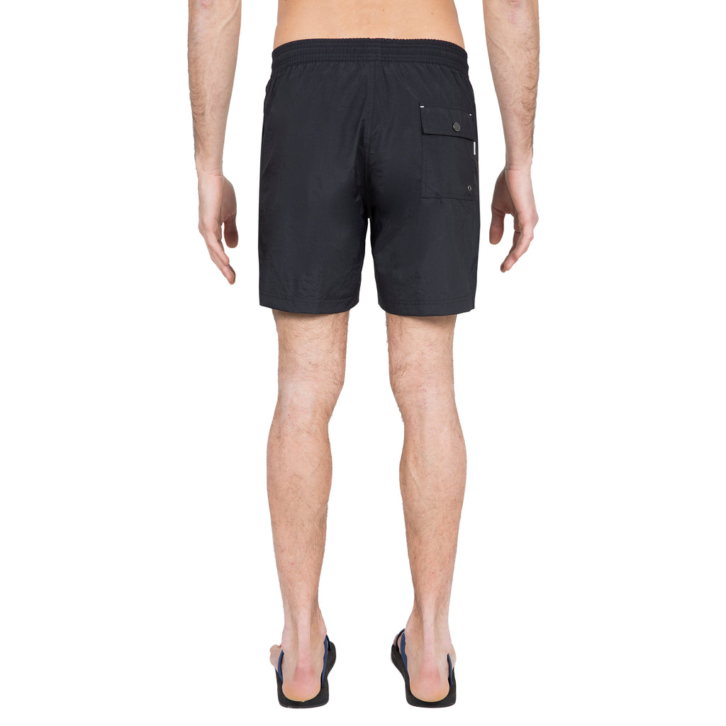 Black elasticated mid-length swim short