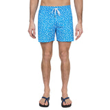 Printed elasticated mid-length swim short