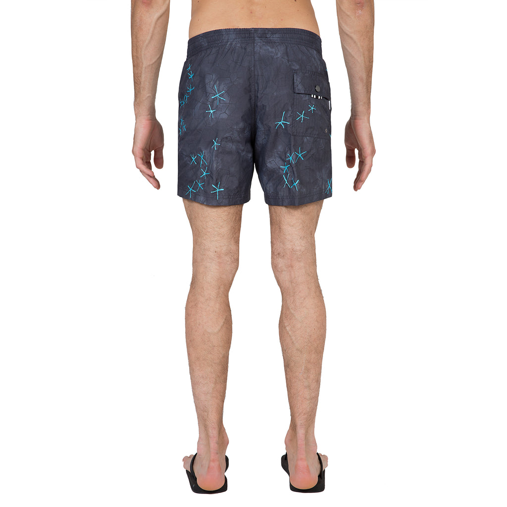 Elasticated mid-length swim short with blue embroidery