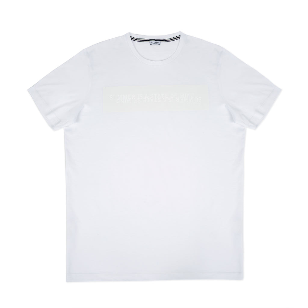 Cotton jersey tee shirt with tone on tone slogan print