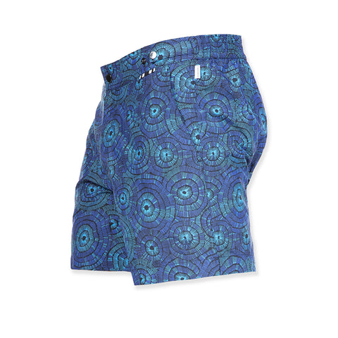 Mid length flat front nylon swim trunk with floral print