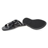 Multi-strap leather slide with bicolor tpu sole