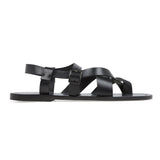 Caged leather sandal with half rubber heal