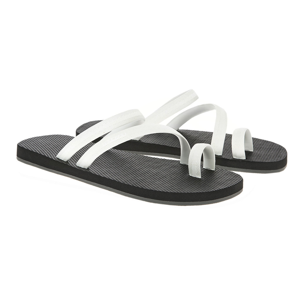 Bicolored flip-flop with asymmetric caged upper,  black with white